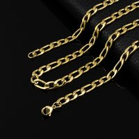 Wholesale thick gold chain wholesale online - Fashion Jewelry Trendy Silver Gold Color Thick Cuban Link Chain Stainless steel leather necklace Figaro Chain