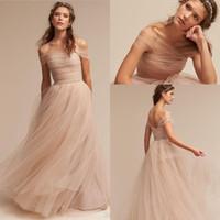 Wholesale Nude Color Lace Wedding Dress - Vintage Nude 2018 Wedding Dresses Off The Shoulder Delicate Sash Bridal Gowns Floor Length A Line Backless Wedding Gown