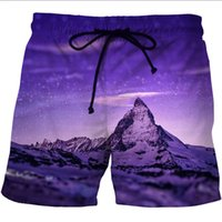 Wholesale spark light - LOVE SPARK Fast Dry Light Landscope Print Jogging Shorts For Men S To xL Digital Print Purple Beach Shorts For Boys