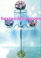 Wholesale ceremony decor resale online - New style Crystal Wedding Flower Stand Table Centerpiece Event Decoration Flower Chandelier Ceremony Party Decor Wedding Supplies best00046