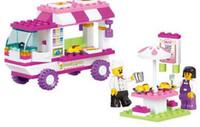 ingrosso sogni di auto-102Pcs Pink Dream Snack Car Building Blocks Particelle Mattoni Ragazze giocattoli educativi giocattoli per bambini U48