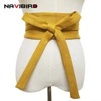 cinturón de tela amarilla al por mayor-Amplia tela amarilla corsé de corsé Cinturones Mujer 2018 Terciopelo de verano Cinturón de cintura sin hebilla Vestido largo Cintura Bow-Tie Cinto Riem