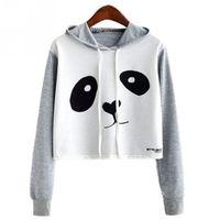 sudaderas con capucha panda lindo al por mayor-Mujeres Niñas Lindo Panda Impreso Crop Top Hoooed Sudadera Panda Hoodies de manga larga Pullover Tops casuales