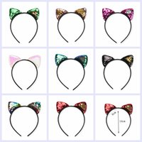 Wholesale performance accessories for sale - Christmas sequin cat ears headband baby girls women mermaid hair sticks party performance European and American hair accessories AAA964