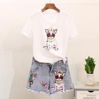 borla tshirts venda por atacado-2018 Novos Conjuntos de Moda de Verão das Mulheres de Lantejoulas Bordado Cães de Manga Curta Tshirts + Tassel Denim Shorts Feminino Ternos