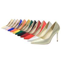 обувь stiletto 43 оптовых-Несколько цветов женщины остроконечные пальцы свадебные туфли балет свадебный невесты шпильки каблук Обувь размер ЕС 35-43