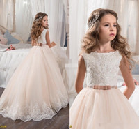 Wholesale Making Knots - 2018 Vintage Romantic Blush Pink Flower Girl Dresses Princess Tutu Sequined Appliqued Lace Bow Kids First Communion Gowns Bow Knot