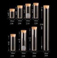 tubes à essai flacons en liège achat en gros de-15 ~ 120 ml bouchon de liège flacon de verre bocaux transparent tube à essai Bung bouteille artisanat bricolage spécimen de semences