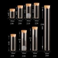 glas reagenzgläser korken großhandel-15 ~ 120 ml Cork Stopper Glasfläschchen Gläser Transparente Bung Reagenzglas Flasche Handwerk DIY Samen Probe Flasche