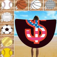 Wholesale silk beach towel resale online - 150cm Baseball Softball Football Round Beach Towel Silk Beach Picnic Blanket Sport Yoga Mat Beach Cover Wrap Style WX9