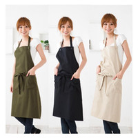 Wholesale home shopping kitchen for sale - High End Korean Fashion Simple Cotton Aprons Coffee Shop Beauty Salon Restaurant Work Cloth Home Kitchen Apron