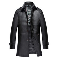 Wholesale leather trench overcoat - Winter PU Leather Jacket Men Long Trench Coats Turn-down Collar Fashion Mens Overcoats Windbreaker