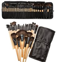 Wholesale black eye shadow powder resale online - PU bag Set Professional Makeup Brush Foundation Eye Shadows Lipsticks Powder Make Up Brushes Tools best quality can print logo