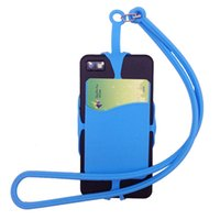 Wholesale iphone necklace case online - Card Bag Holder Silicone Lanyards Neck Strap Necklace Sling Card Holder Strap For iPhone X Universal Mobile Cell Phone SCA436