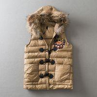 Wholesale Rabbit Fur Waistcoat - New autumn winter women's sleeveless vests rabbit fur jackets ladies outwear down coats thermal top clothing waistcoat tiger - E27