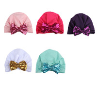 Wholesale football photo prop - 2018 New 10pcs lot Newborn Kniing Sequin Bowknot Hat Bows Cap Bohemia India turban Hats Beanies Photography Props photo Gorro