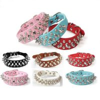Wholesale large studded dog collars for sale - CW016 Adjustable Small Dog Collar Harness Spiked Studded Faux Leather punk rivet dog collar PU round nail dog chain pet supplies
