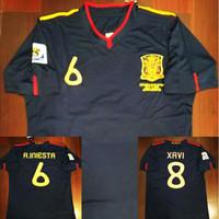 camisetas de torres al por mayor-2010 España Fernando Torres Alonso Sergio Ramos Iniesta Jerseys de fútbol retro 10 camisas clásicas Vintage Kits camiseta de fútbol Camiseta Maillot
