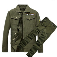 Wholesale army camo uniforms online - Tactical Suit Mens Work Clothes Army Field Cargo Pant Jacket Camo Bomber Welder Clothes Wear Resistance Uniform