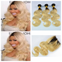 Wholesale Two Tone Hair 1b 613 - Huihao 9A Grade Two Tone ombre human hair bundles with closure Human Hair Weave with Lace Closure Body Wave 1b 613 hair bundles