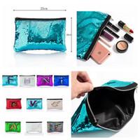 Wholesale sequins cosmetic bag - Mermaid Sequin Cosmetic Bag Glitter Makeup Purse Pouch Pocket Clutch Evening Bling Bags Storage Handbag DDA422
