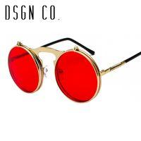 флип закругленные солнечные очки оптовых-DSGN CO. 2018 Ретро Стимпанк Круглые стильные солнцезащитные очки для мужчин и женщин Роскошные откидные очки для женщин Мужчина 13 цветов UV400