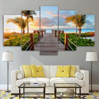15 bilderrahmen großhandel-HD Print Rahmen Poster Kunst Leinwand Malerei 5 Stücke / Pcs Coast Board Walk Palms Insel Strand Modulare Bild Wand Für Wohnzimmer