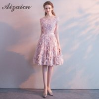 Wholesale lace qipao wedding dress resale online - Pink Short Evening Dress Summer Traditional Chinese Dress Lace Cheongsam Qipao Flower Bridesmaid Party Wedding Dresses