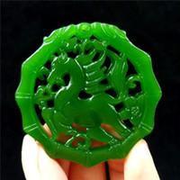 jade amulett halskette großhandel-Natürliche grüne Jade Halskette Anhänger Seil Lucky Amulett Edelstein Pferd feine Statue Anhänger Sammlung Sommer Ornamente Naturstein