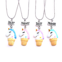 Wholesale free best friend necklaces for sale - Group buy Resin Cartoon Unicorn Necklace new fashion sets BFF Child colorful horse best friend pendant necklace gift