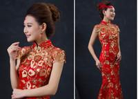 ingrosso abiti da sposa tradizionali a maniche corte-Abito da sposa cinese rosso femminile lungo manica corta cheongsam oro sottile vestito tradizionale cinese donne cheongsam partito Qipao