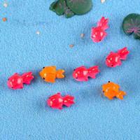 ingrosso ornamenti in miniatura-Miniature Goldfish Red Gold Fairy Garden Accessorio Moss Terrarium Ornamento Mini Resina Artigianato Micro Paesaggio Decorazione FAI DA TE ZAKKA