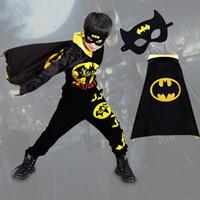 ropa de batman cosplay al por mayor-Batman de Halloween Conjuntos de ropa para niños Niños Ocio Ropa deportiva Conjuntos de dibujos animados Cosplay Cloak Mask Inicio Ropa DHL HH7-1746