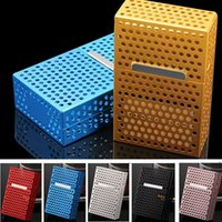 Wholesale rectangular cover - Hollow Aluminum Cigarette Cases For Pocket 20pcs Tobacco Case Box Cover Holder Cigar Smoke Smoking Grinder Can Provide FBA ship HH7-416