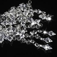 perles pour ficelle de décoration achat en gros de-30pcs cristaux de décoration de mariage acrylique perles octogonales prismes de chaînes guirlande lustre suspendu rideau pour la maison