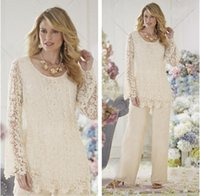 Wholesale dressing pants - 2018 Lace Mothers of the Bride Suits Plus Size Pants Jewel Neckline Lace Illusion Long Sleeves Two Pieces Mother of the Bride Dresses