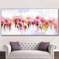 duvar resmi pembe çiçek tuvali toptan satış-El Boyalı Çiçekler Yağlıboya Tuval Üzerine El Yapımı Çiçek Resimleri Büyük Pembe Lale Çiçek Resimleri Ev Duvar Sanatı