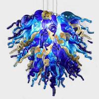 Wholesale hanging antique lamp online - Modern Hanging Pendant Lighting Hand Blown Glass Chandelier Lamps Antique Crystal Chandelier Home Art Decor AC v v LED Light Source