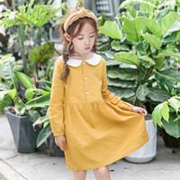 sarı bebek elbisesi toptan satış-Yeni 2018 büyük kız Elbise Uzun Kollu Bahar Çocuk Giyim Elbiseler Pamuk Doll Yaka Çocuklar Parti Gündelik Elbise Kız Sarı A8248