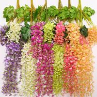 ingrosso orchidea di seta viola-Fiori artificiali della vite di glicine della vite 29 e fiori di seta a 43 pollici 9 fiori decorativi di colori per le decorazioni domestiche dei centri di nozze Partito domestico