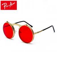 lunettes de soleil flip achat en gros de-Pro Acme Rétro Steam Punk Lunettes De Soleil Rond Flip Up Monture En Métal Lunettes Océan Rouge Lentille Steampunk Lunettes De Soleil Femmes Hommes CC1060