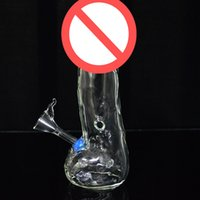 """Wholesale water penis - The Male Penis Shape Glass Bong Water Pipes 7.5"""" inch Tall Stylish Transparent Dab Rigs with Downstem Portable Glass Hookah for Smoking"""
