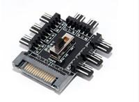 controladores de nível venda por atacado-PC Computador SATA 1 a 8 Multi Way Splitter Cooler Ventilador De Refrigeração Hub 3pin 12 V Tomada de Energia PCB Adaptador de 2 Nível de Velocidade do Controlador