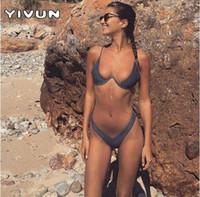 ingrosso bikini a taglio basso-2018 Nuovo costume da bagno a vita alta perizoma in vita alta Solido vita bassa Bikini biquini brasiliano da spiaggia con micro bikini Push Up Swimwear