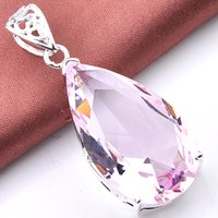 Wholesale Real Garnet - Real Promotion Party Drop Pink Topaz Jewelry Gemstone Jewelry Pendant Colares Reliable Supplier Crystal Antique Silver Garnet Pendant P0360