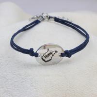 синие браслеты оптовых-Индивидуальные WV дома браслет регулируемый браслет темно-синий веревка для мужчин и женщин подарок груза падения YP0066