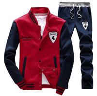 hoodie de la mode coréenne livraison gratuite achat en gros de-Nouveau Mode Hommes Sport Ensembles Sweat Costumes Style Coréen Survêtements Baseball Veste Hoodies Sweats et Pantalons Vente En Gros