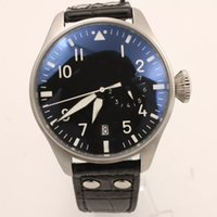 Wholesale black pilot watch - Hot Sale IW Brand Automatic Mens Watch Limited Top Gun Men Black Dial Leather Band Pilot Men Watches Montre Homme