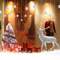 yılbaşı vinili pencere çıkartmaları toptan satış-Merry Christmas Ağacı Geyik Çıkarılabilir Sanat Vinil Pencere Kapı Sticker Duvar Dekor Oturma Odası Için, Bar, Süpermarket Kapı