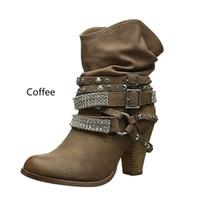 calcanhares de strass botas tornozelo venda por atacado-Tangnest Mulheres Motocicleta Ankle Boots Sexy Rhinestone Rivet Sapatos De Salto Alto Sapatos de Plataforma Mulher Fivela Tamanho 35-43